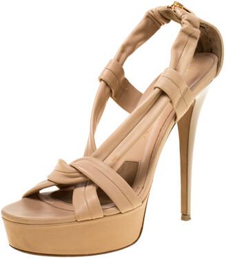 Burberry Beige Leather Strap Platform Sandals Size 38