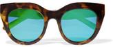 Le Specs Air Heart Cat-eye Acetate Mirrored Sunglasses - Tortoiseshell