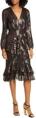 Saloni Alya Metallic Silk Blend Long Sleeve Dress