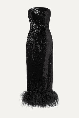 16Arlington Strapless Feather-trimmed Sequined Tulle Midi Dress - Black