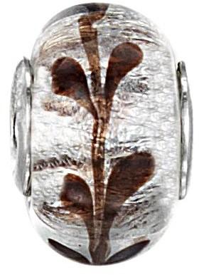 Jo for Girls Shimmery Silver Purple V Murano Glass Bead