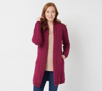 Aran Craft Merino Wool Open Front Cardigan with Pockets