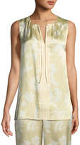 St. John Outlined Painted Floral Silk Shell
