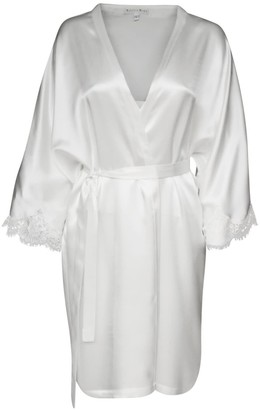 Natalie Begg Silk Magyar Robe With French Lace Sleeve Hem Ivory
