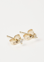 Wwake yellow gold / white diamond small stud earrings
