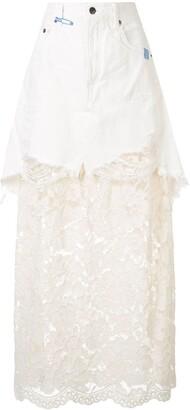 Maison Mihara Yasuhiro Lace Contrast Maxi Skirt