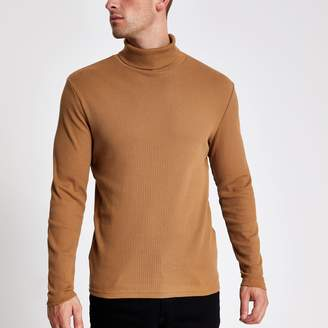 River Island Mens Brown ribbed roll neck long sleeve T-shirt