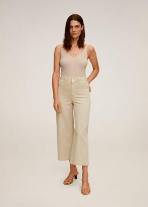 MANGO Jeans culotte high waist beige - 1 - Women