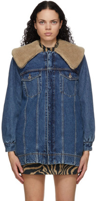 Ganni Blue Denim Teddy Oversized Jacket