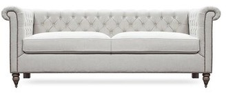 Rosdorf Park Skyla Chesterfield Sofa Rosdorf Park Body Fabric: Greece Domino, Leg Color: Brown Mahogany