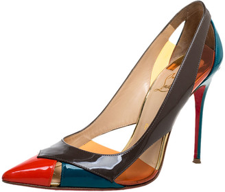 Christian Louboutin Multicolor Patent Leather And PVC Slingback Pointed Toe Pumps Size 39