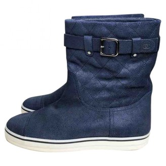 Chanel Navy Suede Boots
