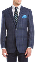 Zanetti Blue Gingham Wool Sport Coat
