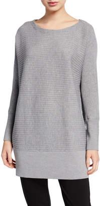 Eileen Fisher Plus Size Washable Wool Bateau-Neck Ribbed Tunic Sweater