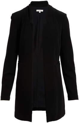 Minna Women's Blazers Black - Black Crepe Notched Longline Open Jacket - Women & Plus