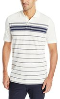 Arrow Men's Short Sleeve Engineered Chest-Stripe Oxford Polo Shirt
