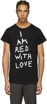 Ann Demeulemeester Black i Am Red With Love T-shirt