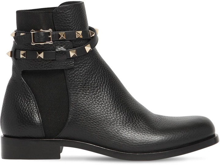 Valentino 20mm Rockstud Grained Leather Boots