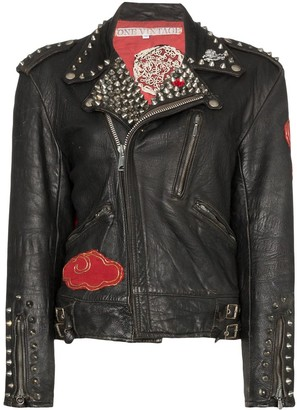 One Vintage studded embroidery biker jacket