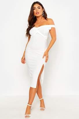 boohoo Off Shoulder Twist Front Split Midi Dress