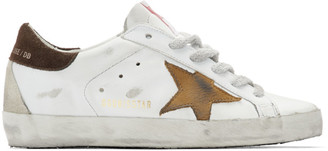 Golden Goose White and Brown Star Superstar Sneakers