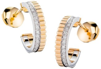 Boucheron Quatre Radiant Edition 18K Yellow Gold, White Gold & Diamond Hoop Earrings