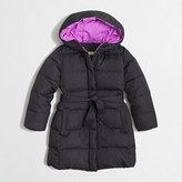 J.Crew Factory Girls' long belted puffer coat
