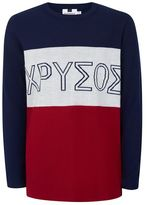 Topman Navy, White and Red Intarsia Print Sweater