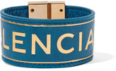 Balenciaga Blanket Embossed Textured-leather Bracelet - Blue