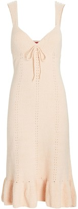 STAUD Lulu Pointelle Knit Midi Dress