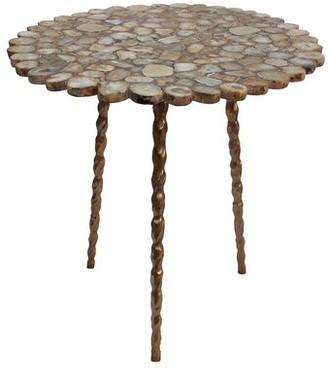 A&B Home Agate With Brass Inlay Centre Table With Tri Legs - Bronze, Gold Agate