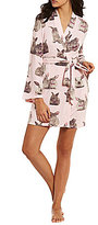 Betsey Johnson Bunny-Print Fleece Wrap Robe