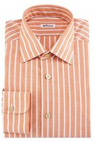 Kiton Bold-Stripe Dress Shirt, Tangerine/White