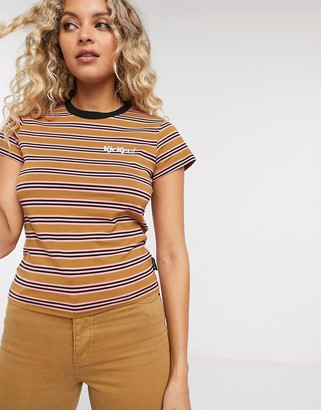 Kickers shrunken t-shirt with chest logo in retro stripe