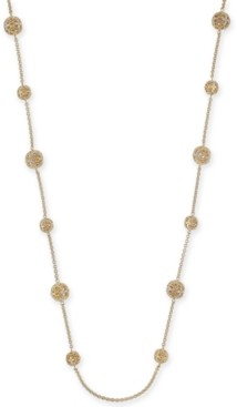 "Charter Club Crystal Filigree Long Strand Gold-Tone Necklace, 42"" + 2"" extender, Created for Macy's"