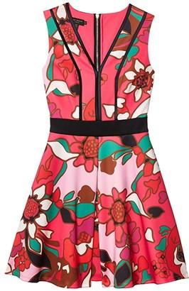 Ted Baker Arilina Pinata Pipe Detail Skater Dress (Bright Pink) Women's Dress