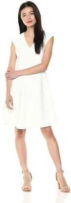 Taylor Dresses Women's Sleeveless fit and Flare Textured Jacquard Knit Dress