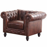 Asstd National Brand Stella Chesterfield Leather Roll-Arm Chair