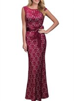 Moonpin Women's Elegant Back V Neck Lace Hollow Out Maxi Formal Evening Dress Winered XL