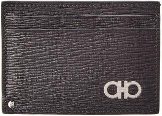 Salvatore Ferragamo Embossed Leather Credit Card Case