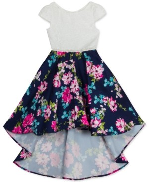 Rare Editions Toddler Girls Lace-Bodice Floral-Skirt Mikado High-Low Dress