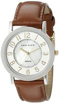 Anne Klein Women's AK/1631MPTI Two-Tone Backlight Function Brown Leather Strap Watch