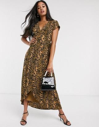 Fabienne Chapot archana leopard print midi dress in toffee brown