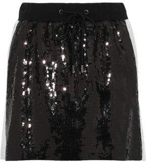 Alberta Ferretti Striped Sequined Woven Mini Skirt