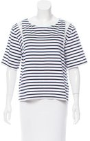 A.L.C. Lace-Up Trimmed Striped Printed Top