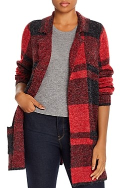 Joseph A Plus Plaid Open-Front Cardigan