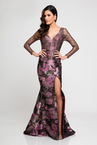 Terani Couture 1723M4620 Long sleeve Floral Print Evening Dress