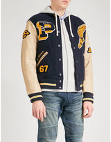 Polo Ralph Lauren Patch-embroidered wool and leather bomber jacket