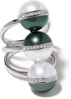 Tasaki 18kt white gold Balance Unite diamond and South Sea pearl ring