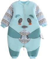 TongXinGuo Baby Boys Sleepwear Cotton Winter Thick Pajamas Long Sleeve Zip Up Sleep Gown Wearable Blanket 18-24 Months